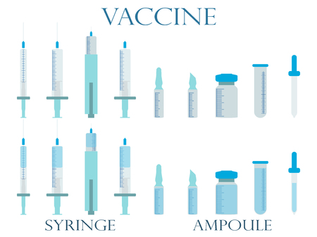 vials: Syringe and vials. Syringe and ampules. Vaccine. Set icons in line style.