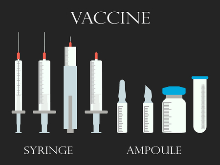 insulin syringe: Syringe and vials. Syringe and ampules. Vaccine. Set icons in line style.