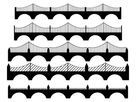balustrade: Set bridge isolated on a white background. illustration