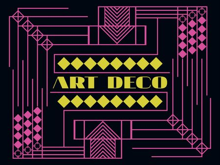 Art deco geometric frame. Retro background in style 1920s, 1930s. Vector illustration. Illustration