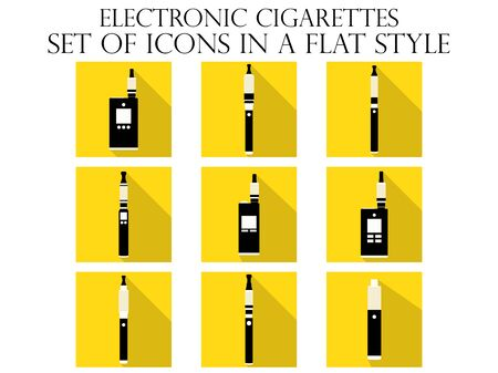vaporized: Electronic cigarette flat icons. Various types of e-cigarettes. Vector illustration.