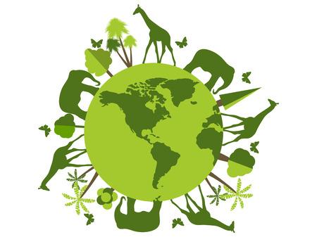Animales en el planeta, refugio para animales, santuario de vida silvestre. Día Mundial del Medio Ambiente. Ilustración del vector.