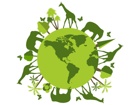 Animals on the planet, animal shelter, wildlife sanctuary. World Environment Day. Vector illustration.
