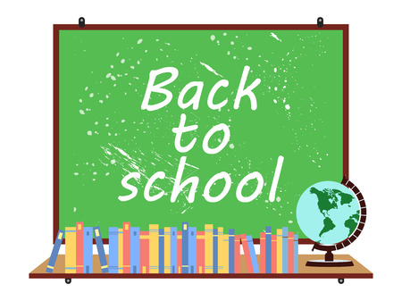 textbooks: School blackboard. Globe and telescope. Back to school. Textbooks. Vector illustration. Illustration