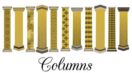 doric: Column set. Doric, Roman style. Vector illustration.