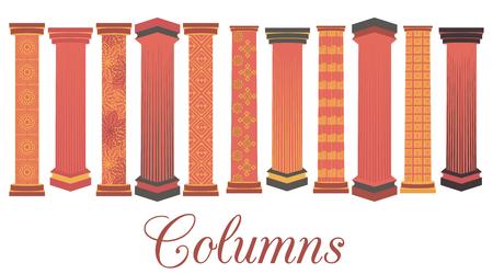 roman column: Column set. Doric, Roman style. Vector illustration.