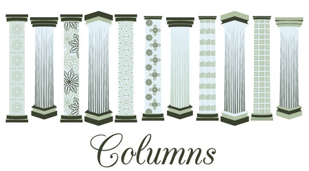 doric: Columns with a pattern. set. Doric, Roman style. Vector illustration.
