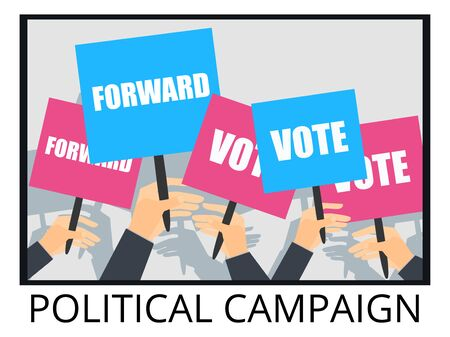 voters: Rally support for the election of the candidate. Election campaign. voters support, people with placards. Vector illustration.