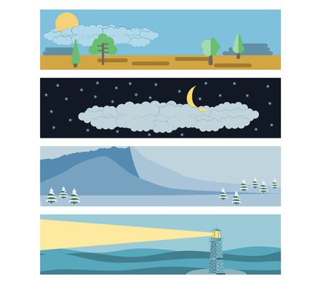 snowcapped: Set in a flat landscape style. Snow-capped mountains, a lighthouse in the sea, day and night. Vector illustration.
