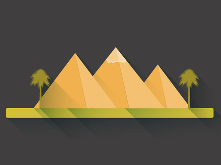 egyptian pyramids: Egyptian pyramids in flat style with long shadows. Landscape with the Egyptian pyramids. Vector illustration.