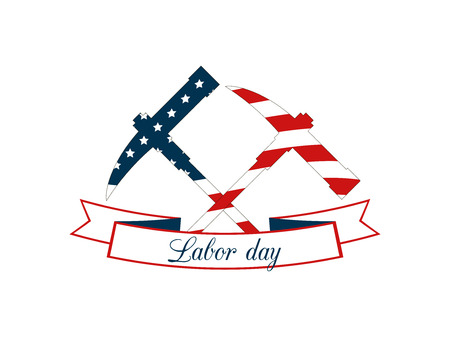 Labor Day holiday, a pick and hammer tools on white background. US flag colors. Vector illustration.