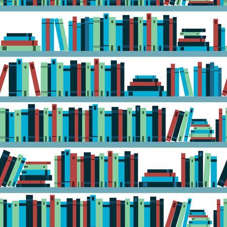 book shelf: Seamless pattern book shelf with books. Vector.