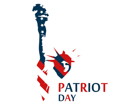 Statue of Liberty in the US flag colors. Patriot Day. Vector illustration. Illustration