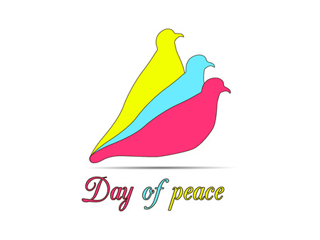 Colored doves on a white background.  International Day of Peace. Vector illustrations.
