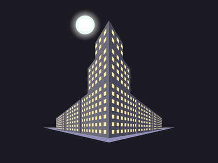 moon  metropolis: Buildings in perspective, the moon at night. The outline of the houses, the city in 3D. Vector illustration.