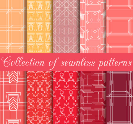 thirties: Art deco seamless patterns. Set of ten geometric backgrounds. Style 1920s, 1930s. Vector illustration. Illustration