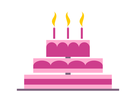 Cake in a flat style on a white background. Pink wedding cake. Vector illustration.