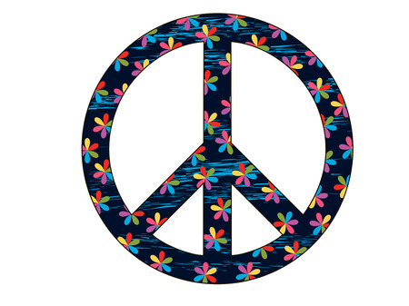 Peace Symbol with flowers. Isolated on a white background. Elements grunge style. Vector illustration.