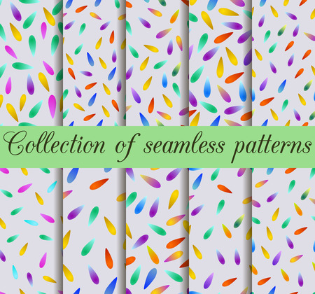 Set of seamless patterns with drops gradient. Fashionable print for t-shirts, dresses and textiles. Vector illustration.