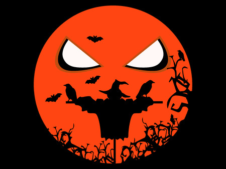 cornfield: Halloween scary scarecrow, ravens and bats. Illustration for Halloween holiday. Vector illustration.