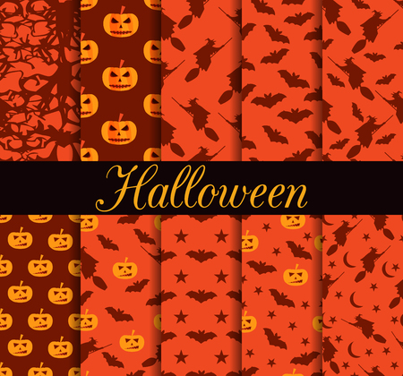 Ten Halloween seamless patterns. Pattern with Lamp Jack, witch with bats.Halloween symbols. For wallpaper, bed linen, tiles, fabrics, backgrounds. Vector illustration. Illustration