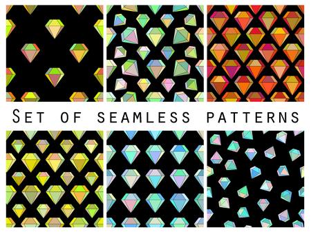 Set van naadloze patronen met kleurrijke diamanten. De gefacetteerde diamant. Vector illustratie.