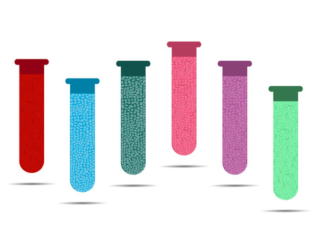 with liquids: Tubes with colored liquids on a white background. Vials of vaccine, analyzes and viruses. Vector illustration.