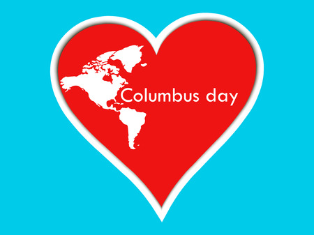 Columbus Day stickers heart. Poster with heart and continents. Vector illustration. Illustration