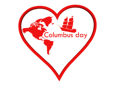 Columbus Day Sticker heart. The poster with the heart Illustration