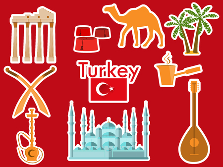 Turkey stickers. Turkish symbols: The Blue Mosque, the Agora, the Turkish hat, shisha, camel, scimitar, guitar. Patches elements Turkey. Vector illustration.