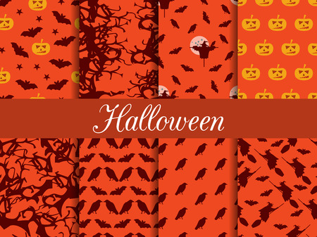 Halloween seamless patterns. Pattern with Lamp Jack, witch with bats and crows. Vector illustration set.