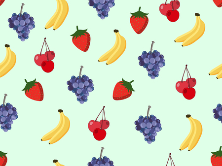 Fruit seamless pattern with bananas, cherries, strawberries and grapes. Vector background.