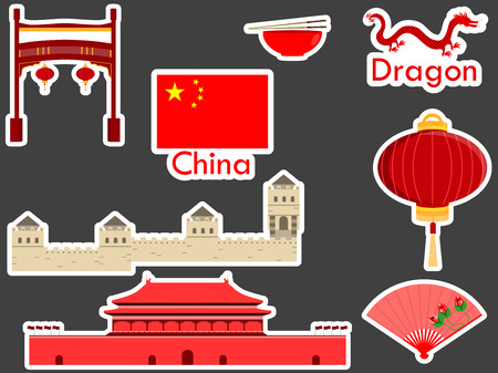 forbidden city: China stickers, chinese landmark. Forbidden City, a large Chinese wall, sticks, dragon. Patches elements China. Vector illustration.