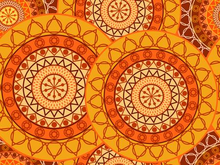Mandala seamless pattern. Geometric pattern in Buddhist and Hindu style. Vector illustration.