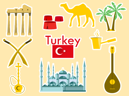 saz: Turkey stickers. Turkish symbols: The Blue Mosque, the Agora, the Turkish hat, shisha, camel, scimitar, guitar. Patches elements Turkey. Vector illustration.
