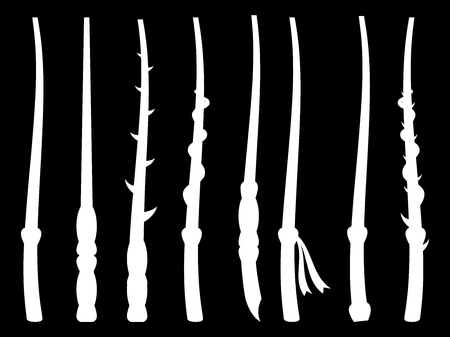 abracadabra: Magic wands. Silhouette on a black background. Wizard tool. Vector illustration.