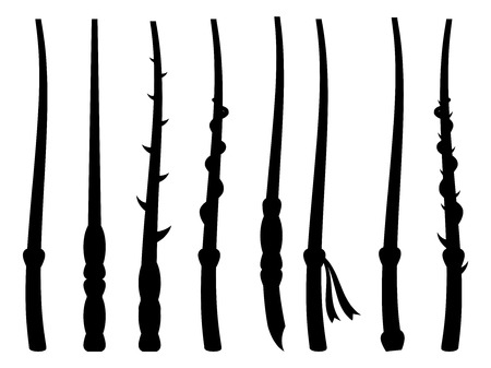 thaumaturge: Magic wands. Silhouette on a white background. Wizard tool. Vector illustration.