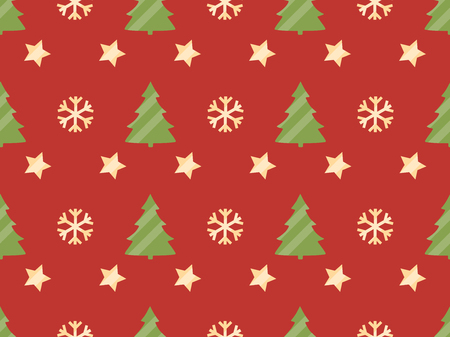 larch: Christmas seamless pattern with Christmas trees, snowflakes and stars. Vector illustration. Illustration