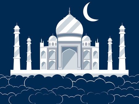mausoleum: Taj Mahal in the clouds. Ancient Palace and landmark of India. Vector illustration. Illustration