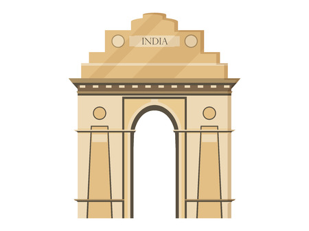india gate: India gate isolation on a white background. Symbol of India, New Delhi. Illustration in a flat style. Vector.