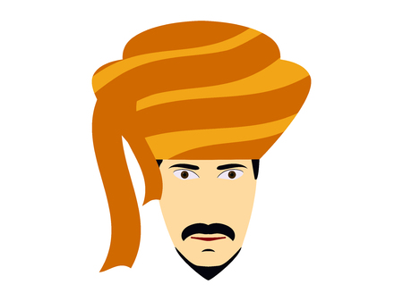 turban: A man in a turban. Traditional Indian headdress. Indian man on a white background. Vector illustration. Illustration