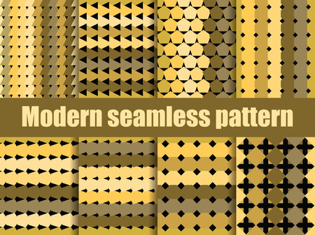 Modern seamless pattern set. Gold and black geometric repeating pattern. Vector illustration. Illustration