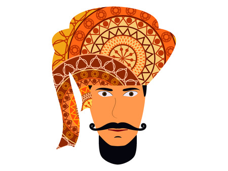 A man in a turban. Traditional Indian headdress. Indian man on a white background. Vector illustration. Illustration