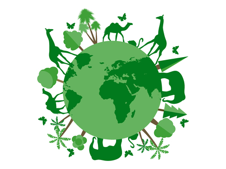 wildlife reserve: Animals on the planet, animal shelter, wildlife sanctuary. World Environment Day. Vector illustration.