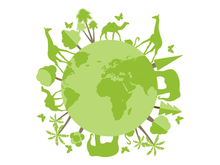 shelter: Animals on the planet, animal shelter, wildlife sanctuary. World Environment Day. Vector illustration.