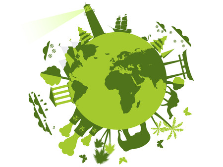 Animals and attractions on the planet, the environment. Animal shelter. Planet earth sights. Vector illustration.
