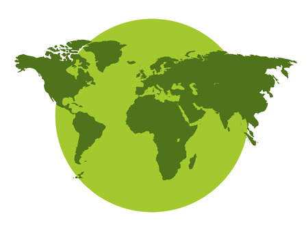 The continents of the planet, environmental protection, green planet on a white background. Vector illustration.