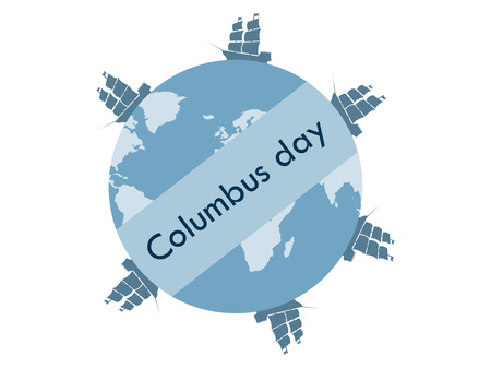 descubridor: Columbus Day, the discoverer of America. Floating ships. Vector illustration. Vectores