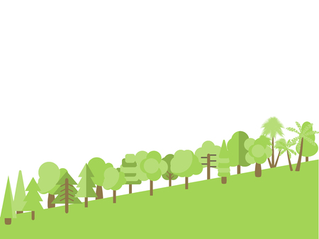 slope: Flat trees on the slope in a flat design. Vector illustration.