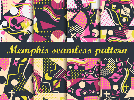 memphis: Memphis seamless pattern. Geometric elements memphis in the style of 80s. Vector illustration.